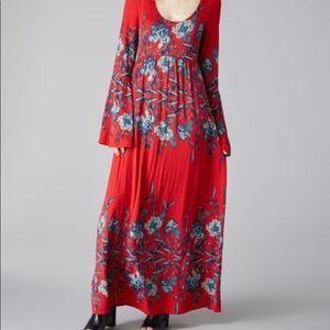 Free People Red Midnight Garden Midi Dress